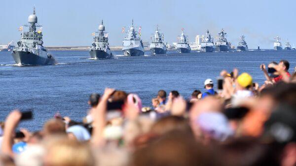 Корабли Военно-Морского флота РФ на генеральной репетиции парада ко Дню ВМФ в Кронштадте