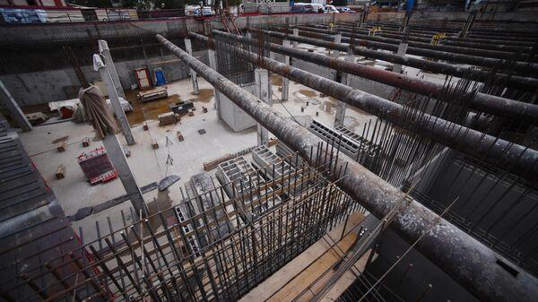 Строительная площадка новой станции Большой кольцевой линии Московского метрополитена Шереметьевская