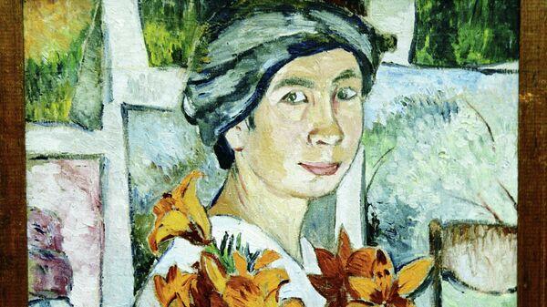 Репродукция картины Автопортрет с желтыми лилиями работы Натальи Гончаровой