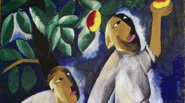 Репродукция картины художника Натальи Сергеевны Гончаровой Крестьяне, собирающие яблоки