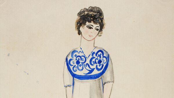 Эскиз платья Натальи Гончаровой для модного дома Надежды Ламановой, Москва, 1910-1914