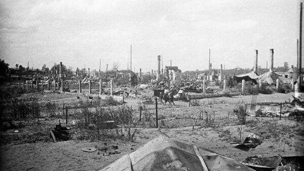 Сожженное еврейское гетто в Вилиямполе (район Каунаса). 1 августа 1944