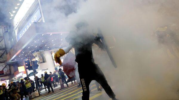 Участники протеста в Гонконге