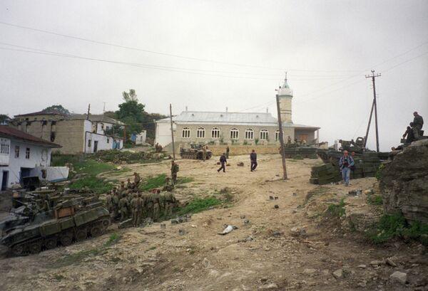 Село Новолакское. Ополченцы и милиционеры