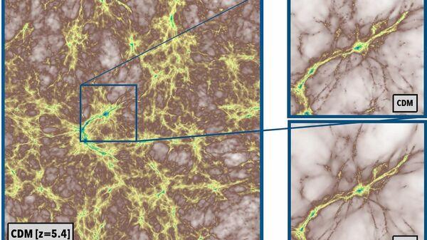 Фрагмент космической паутины в мире холодной (сверху) и теплой (снизу) темной материи