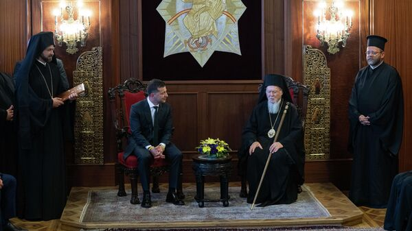 Президент Украины Владимир Зеленский и патриарх Константинопольский Варфоломей во время встречи в Стамбуле, Турция. 8 августа 2019