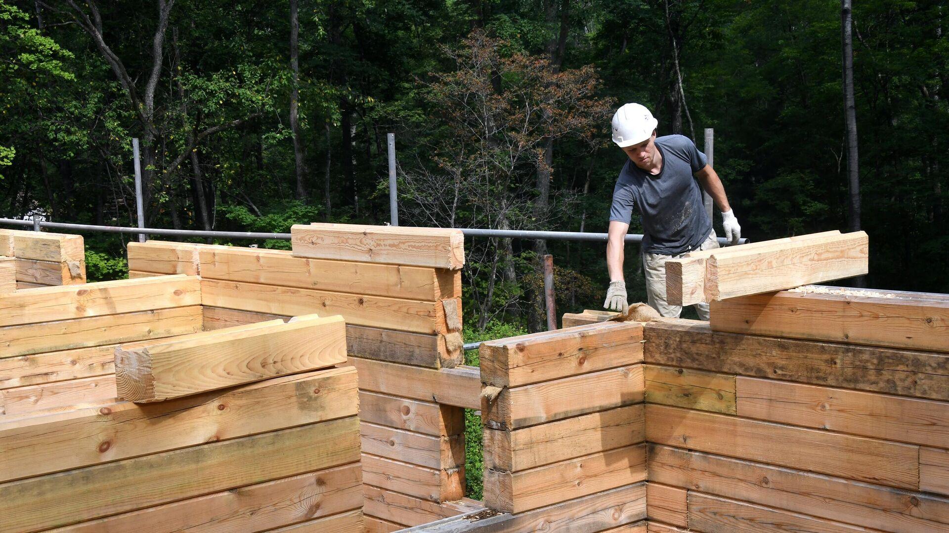 Строительство лесной школы на «дальневосточном гектаре»  в Приморье  - РИА Новости, 1920, 31.08.2020