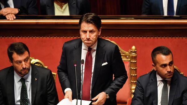 Премьер-министр Италии Джузеппе Конте во время выступления в сенате. 20 августа 2019