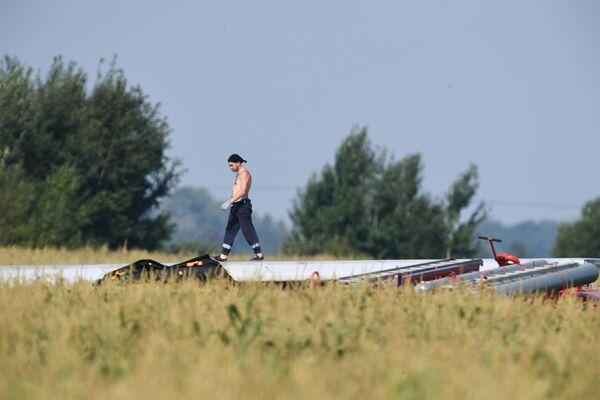 Крыло самолета Airbus А321 авиакомпании Уральские авиалинии, совершившего 15 августа в кукурузном поле в районе деревни Рыбаки в Раменском районе Московской области успешную экстренную посадку после попадания в двигатели птиц