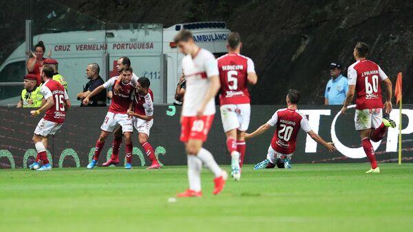Игроки Браги радуются забитому голу в ворота Спартака