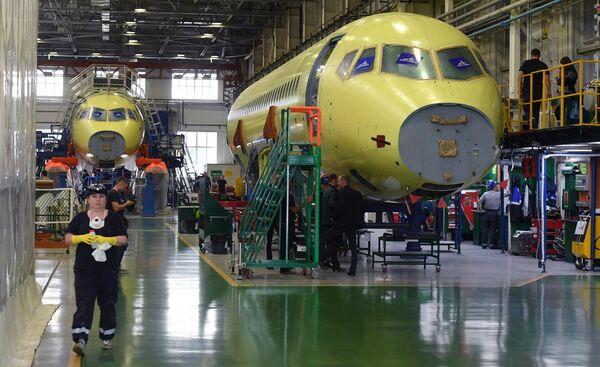 Цех сборки фюзеляжей самолетов Sukhoi Superjet 100 на заводе имени Гагарина в Комсомольске-на-Амуре