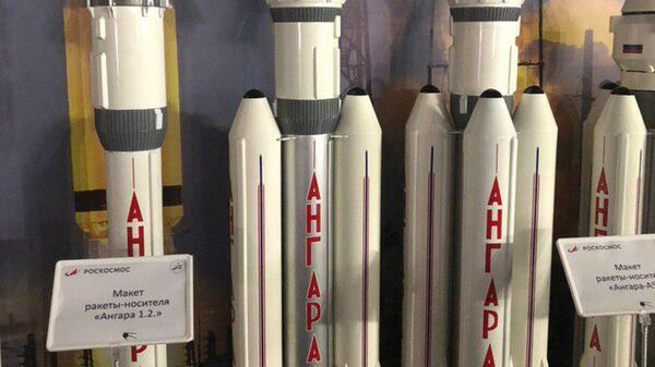 Макет ракеты-носителя Ангара 1.2 на выставке в рамках МАКС-2019