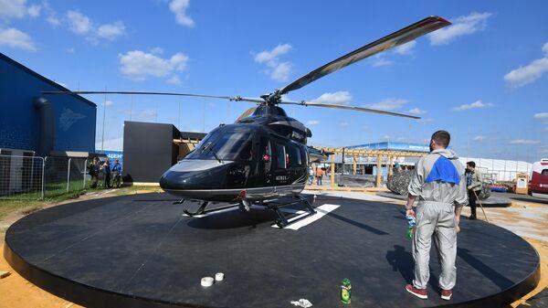 Вертолет Ансат на выставке в рамках Международного авиационно-космического салона МАКС-2019