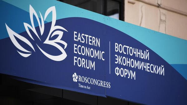 Баннер с символикой Восточного экономического форума во Владивостоке