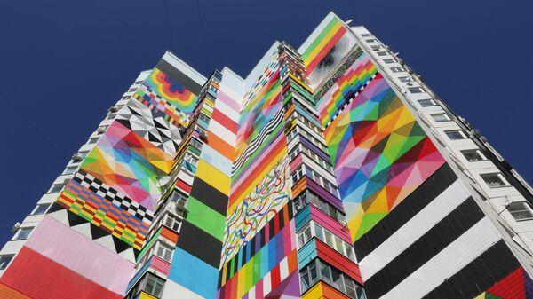 Стрит-арт фестиваль URBAN MORPHOGENESI. Геометрическое граффити –художник OKUDA (Испания)