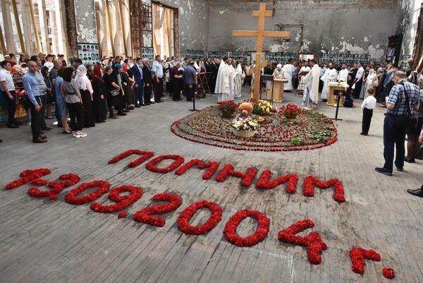 Литургия в бывшем спортзале 1-й Бесланской школы по жертвам теракта 1-3 сентября 2004 года. 3 сентября 2019