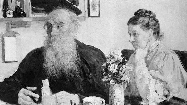 Репродукция картины художника Ильи Репина Лев Николаевич Толстой и Софья Андреевна Толстая за столом.