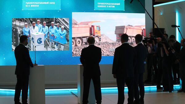 Президент РФ Владимир Путин в режиме видеоконференции наблюдает за вводом в эксплуатацию рыбоперерабатывающего завода на острове Шикотан