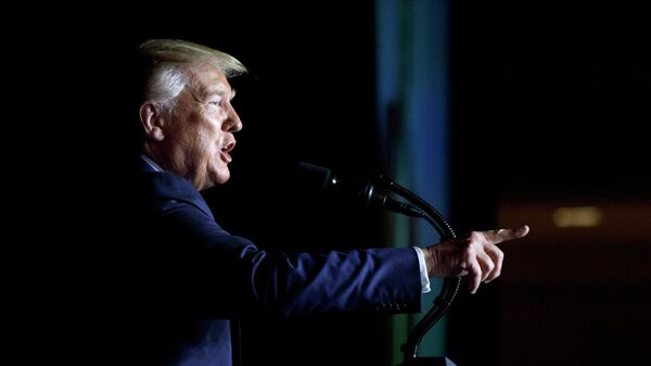 Президент США Дональд Трамп во время выступления Вашингтоне
