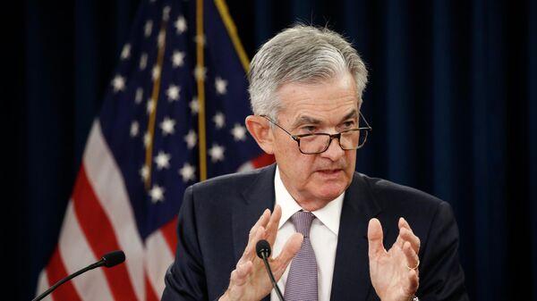 Председатель Совета управляющих Федерального резерва США Джером Пауэлл выступает на пресс-конференции после  заседания Федерального комитета по открытым рынкам. 18 сентября 2019