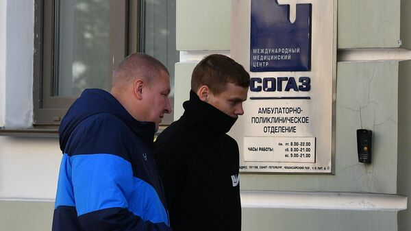 Футболист Александр Кокорин  прибыл на осмотр в медицинский центр СОГАЗ в Санкт-Петербурге