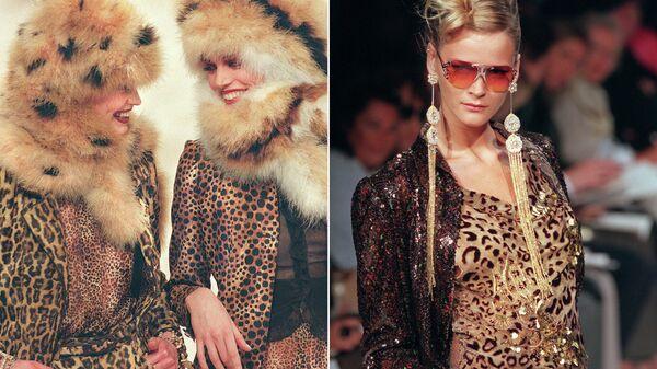 Модели во время показа коллекции Emanuel Ungaro осень / зима в Париже. 1997 и 2000 год