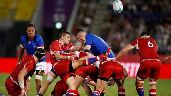 Игровой момент матча Россия - Самоа