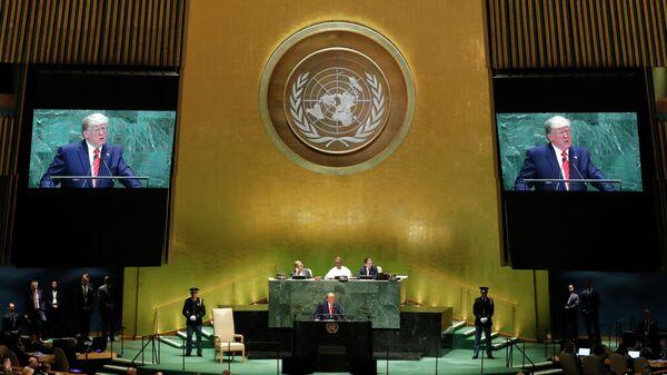Президент США Дональд Трамп выступает на 74-й сессии Генеральной Ассамблеи ООН. 24 сентября 2019