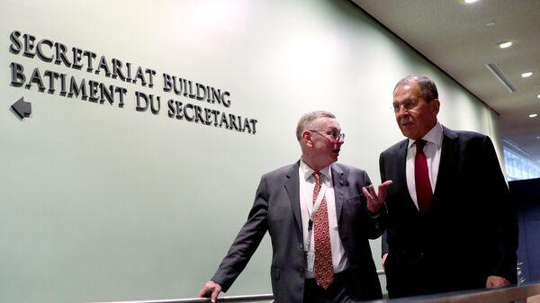 Министр иностранных дел РФ Сергей Лавров в штаб-квартире ООН в Нью-Йорке