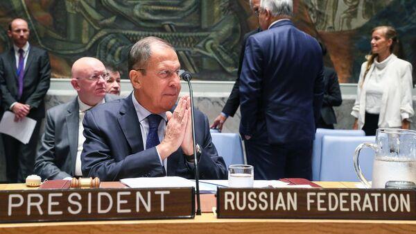 Министр иностранных дел РФ Сергей Лавров на заседании Совета Безопасности ООН