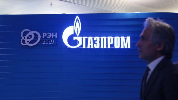 Логотип ПАО Газпром на третьем международном форуме Российская энергетическая неделя – 2019