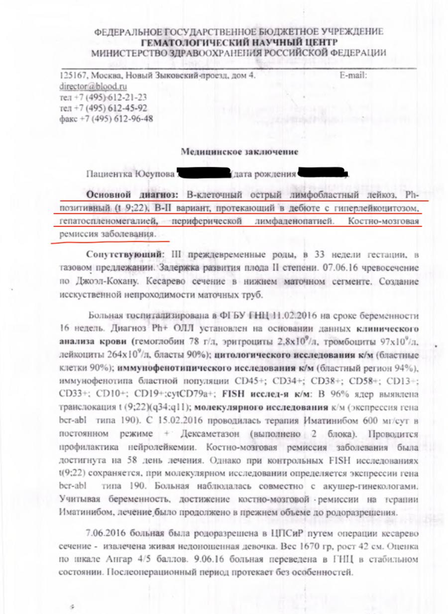 Медицинское заключение Юсуповой с диагнозом
