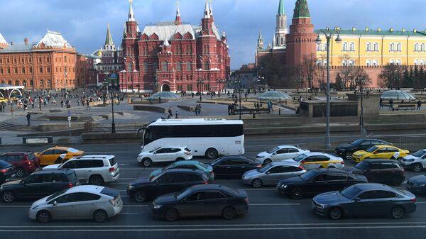 Вид на Манежную площадь и Исторический музей из гостиницы Националь в Москве