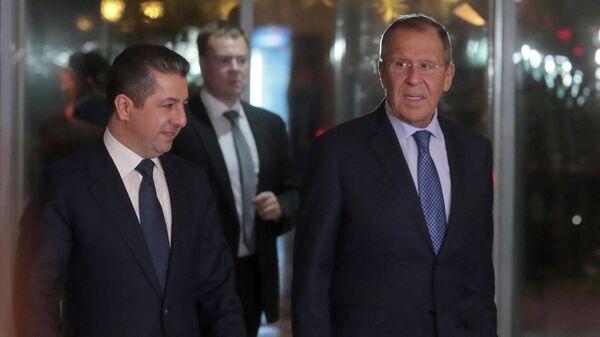 Министр иностранных дел РФ Сергей Лавров и премьер-министр Курдского автономного района Ирака Масрур Барзани во время встречи в Эрбиле. 7 октября 2019