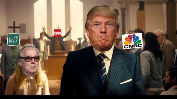 Скриншот видеоролика, в котором фейковый президент США Дональд Трамп расстреливает своих политических оппонентов и представителей СМИ.