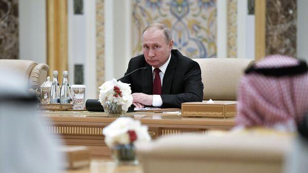 Президент РФ Владимир Путин на российско-эмиратских переговорах