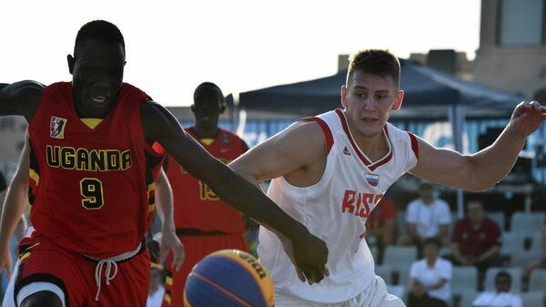 Мужская сборная России по баскетболу 3х3 нанесла поражение команде Уганды в матче группового этапа по Всемирных пляжных игр , которые проходят в Дохе