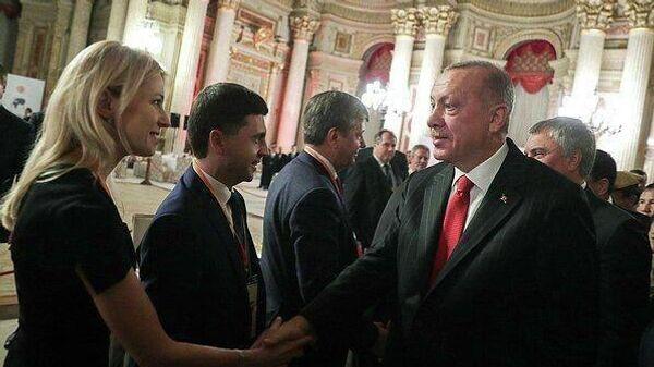 Конференция в Анкаре с участием президента Турции Реджепа Тайипа Эрдогана и представителями парламентской делегации из России