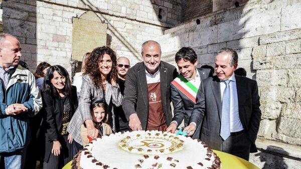 Церемония открытия фестиваля шоколада Eurochocolate в итальянской Перудже