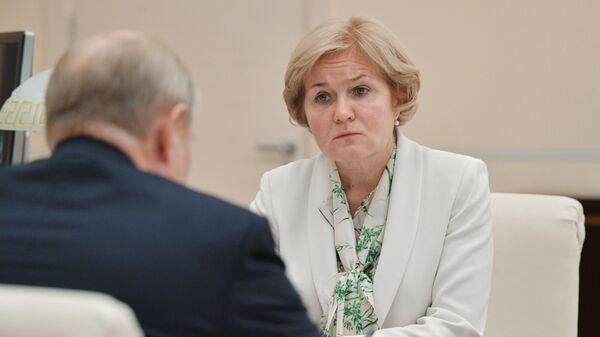 Ольга Голодец во время встречи с президентом РФ Владимиром Путиным