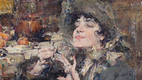 Картина Николая Фешина Дама за маникюром. Портрет мадемуазель Жирмо