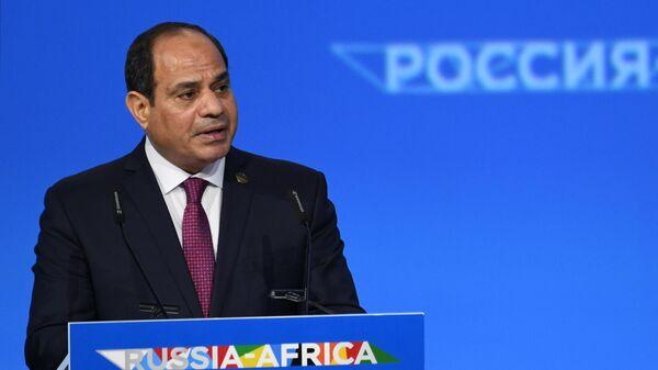 Президент Египта Абдель Фаттах ас-Сиси выступает на пленарном заседании экономического форума Россия - Африка в Сочи