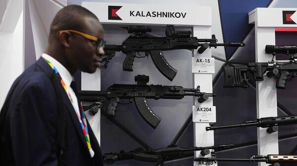 Стенд концерна Калашников на выставке в рамках экономического форума Россия - Африка в Сочи
