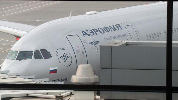 Самолет компании Аэрофлот, доставивший Марию Бутину, освобожденную из тюрьмы в США, в международном аэропорту Шереметьево