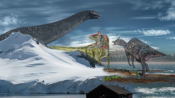 Так в представлении художника проявляется далекое прошлое Антарктиды, населенной больше 200 миллионов лет назад динозаврами