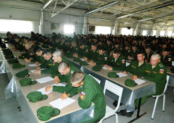Военнослужащие военной базы Южного военного округа (ЮВО) в Абхазии во время Всероссийского географического диктанта