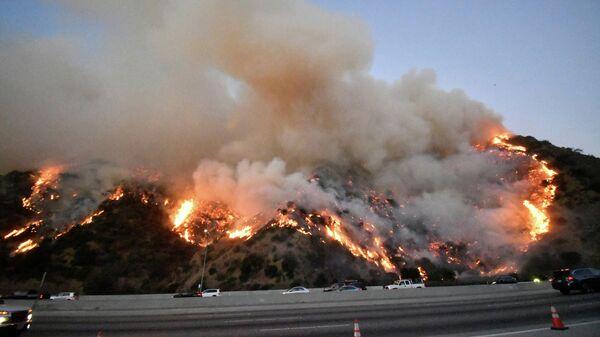Лесной пожар рядом с Центром Гетти в Калифорнии