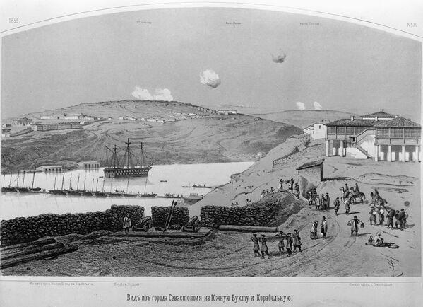рисунка с видом Южной бухты города Севастополя, во время Крымской войны 1853-53 гг.