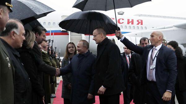 Президент РФ Владимир Путин во время церемонии встречи в аэропорту Будапешта
