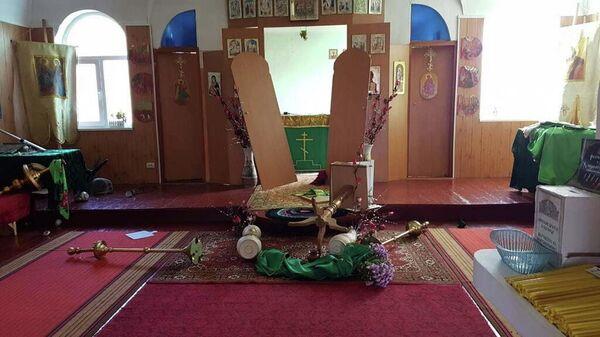 Свято-Александро-Невский храм разгромленный вандалами 30 октября 2019 года (село Невское Луганская область, Украина)